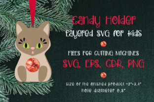 Print on Demand: Cat Christmas Ornament Candy Holder Svg Graphic 3D Christmas By Olga Belova