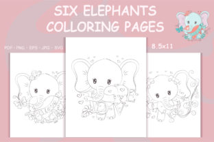 Print on Demand: Coloring Pages Elephants Coloring Books Graphic Coloring Pages & Books By artvarstudio