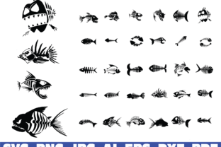 Print on Demand: Fish Bones, Angry Fish Bundle Graphic Illustrations By Sofiamastery