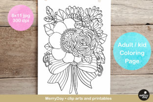 Flower Bouquet Adult Coloring Page Graphic Coloring Pages & Books By MerryDay