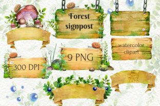 Forest Signpost, Watercolor Grass Wood - 1