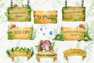 Forest Signpost, Watercolor Grass Wood - 2