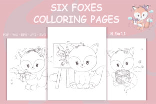Print on Demand: Fox Coloring Pages for Coloring Books Graphic Coloring Pages & Books By artvarstudio