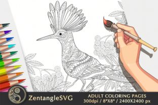 Hoopoe Coloring Page for Adults & Kids Graphic Coloring Pages & Books Adults By ZentangleSVG