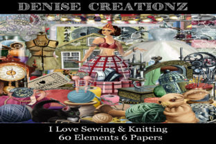 I Love Sewing & Knitting Graphic Crafts By Denise Creationz