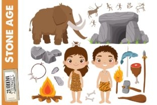 Prehistoric Clipart Stone Age Ice Age Graphic Illustrations By Zlatoena Clipart