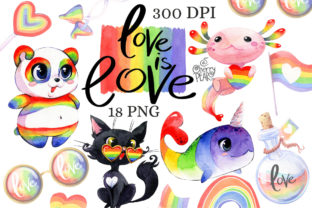Print on Demand: Rainbow LGBT Clipart Set Graphic Illustrations By CherrypearStudio