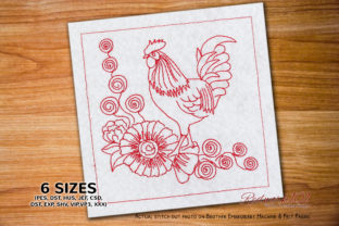 Rooster with Flower Ornament Floral Wreaths Embroidery Design By Redwork101