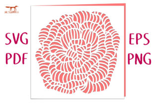 Rosa Flower Card SVG Cut File Graphic 3D SVG By Nic Squirrell