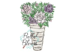 Roses Vase Bouquets & Bunches Embroidery Design By Bella Bleu Embroidery
