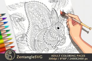 Squirrel Coloring Page for Adults & Kids Graphic Coloring Pages & Books Adults By ZentangleSVG