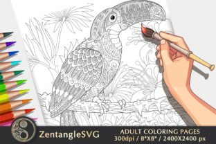 Toucan Coloring Page for Adults & Kids Graphic Coloring Pages & Books Adults By ZentangleSVG