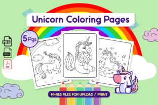 Unicorn Coloring Pages for Kids | VOL10 Graphic Coloring Pages & Books Kids By Unicorn Pngs
