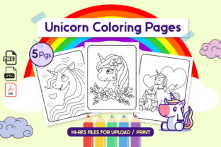 Unicorn Coloring Pages for Kids | VOL6 Graphic Coloring Pages & Books Kids By Unicorn Pngs