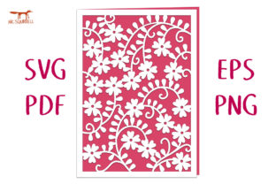 Wild Rose Lace Card SVG Cut File Graphic 3D SVG By Nic Squirrell