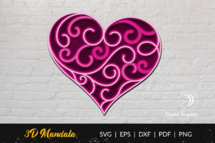 Print on Demand: 3D Layered Heart Cut File Graphic 3D SVG By doridodesign