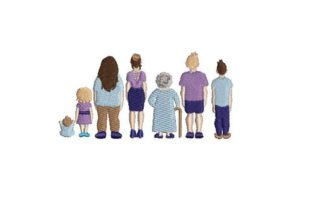 Back View of Flat Vector Relatives Embroidery Design By Embroidery Designs
