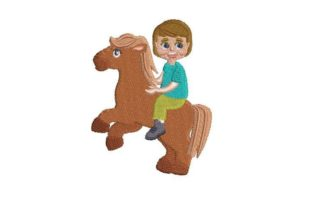 Boy Riding a Pony Farm & Country Embroidery Design By Embroidery Designs
