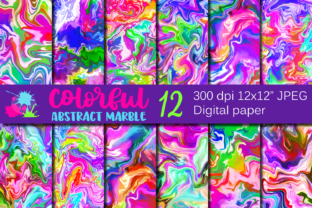 Colorful Rainbow Marble Backgrounds Graphic Backgrounds By VR Digital Design