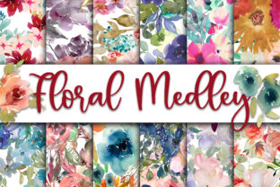 Print on Demand: Floral Medley Digital Papers Graphic Backgrounds By oldmarketdesigns