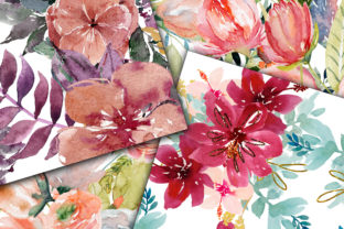 Print on Demand: Floral Medley Digital Papers Graphic Backgrounds By oldmarketdesigns 2