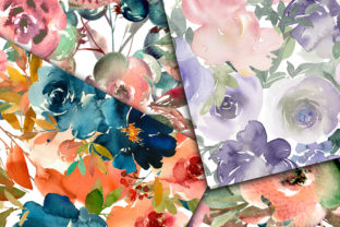 Print on Demand: Floral Medley Digital Papers Graphic Backgrounds By oldmarketdesigns 3