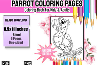 Print on Demand: Floral Parrot Coloring Book for Adults Graphic Coloring Pages & Books By Funnyarti