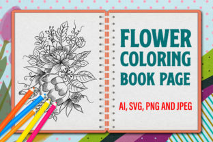 Print on Demand: Flower Coloring Book, Floral Line Art Graphic Coloring Pages & Books By Graphicyes