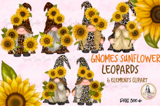 Print on Demand: Gnomes Sunflower Leopards Clipart Graphic Illustrations By Suda Digital Art