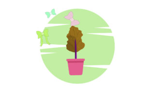 Tree Plant Potted Circle Ribbon Graphic Icons By margaritaristudio