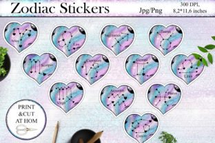 Print on Demand: Zodiac Stickers PNG   Printable Sticker Graphic Crafts By LerVik