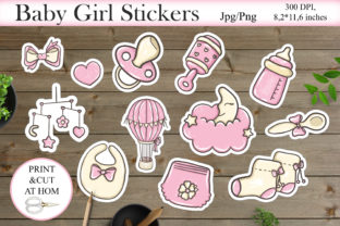 Print on Demand: Baby Shower Printable Stickers Design Graphic Crafts By LerVik