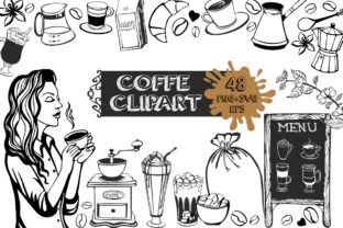 Coffe Clipart Black and White Graphic Illustrations By rembrantd.ulya