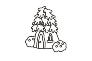 Fairy House in Black and White Fairy Tales Embroidery Design By Embroidery Designs