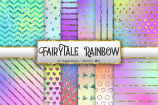 Print on Demand: Fairytale Rainbow Digital Papers Graphic Backgrounds By PinkPearly