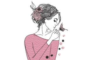 Girl with Flowers and Butterfly Fashion & Beauty Embroidery Design By Canada Crafts Studio