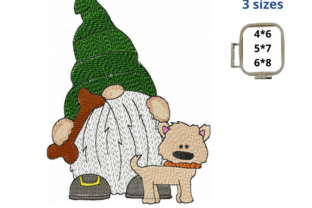 Gnome with Dog Dogs Embroidery Design By EmbDesigns