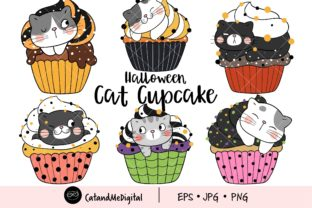 Halloween Cat Cupcake Clipart Graphic Illustrations By CatAndMe