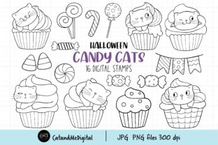 Halloween Cat Digital Stamp Graphic Illustrations By CatAndMe