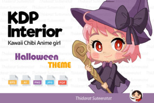 KDP Coloring: Halloween Chibi Anime Girl Graphic Coloring Pages & Books By thidarat.suteeratat