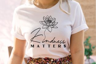 Kindness Matters-Quote Lotus Drawing SVG Graphic Illustrations By Lineartlovelytale