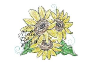 Sunflower Scribble 2 Bouquets & Bunches Embroidery Design By Bella Bleu Embroidery