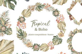 Tropical Boho Dried Palm Leaves Clipart. Graphic Add-ons By EvArtPrint