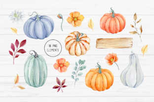 Watercolor Autumn Pumpkin Clipart Graphic Illustrations By SipkaDesigns 2