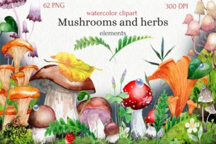 Watercolor Cliparts of Mushrooms Graphic Illustrations By CherrypearStudio