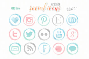 Watercolor Social Icons Graphic Web Elements By helloPAPER
