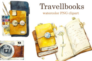 Watercolor Travelbooks Clipart. Graphic Objects By Мария Кутузова