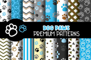 Print on Demand: Blue Dog Paws Digital Papers Pattern Graphic Patterns By Grafixeo
