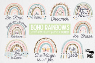 Boho Rainbow with Positive Quote Bundle Graphic Print Templates By Lazy Cat