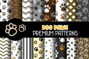 Print on Demand: Cute Dog Paws Digital Papers Patterns Graphic Patterns By Grafixeo
